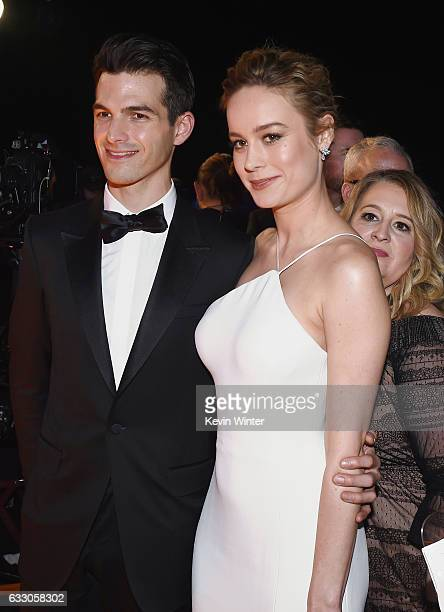 Musician Alex Greenwald and actor Brie Larson attend The 23rd Annual Screen Actors Guild Awards Cocktail Reception at The Shrine Auditorium on...