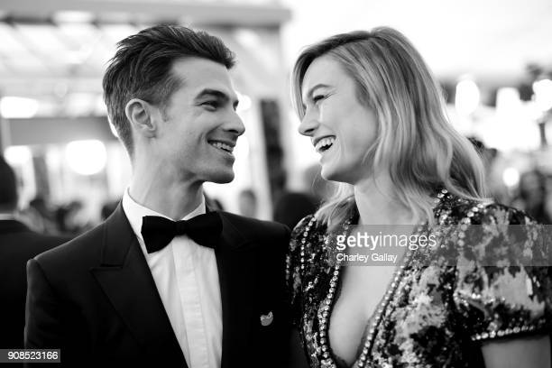 Musician Alex Greenwald and actor Brie Larson attend the 24th Annual Screen Actors Guild Awards at The Shrine Auditorium on January 21 2018 in Los...