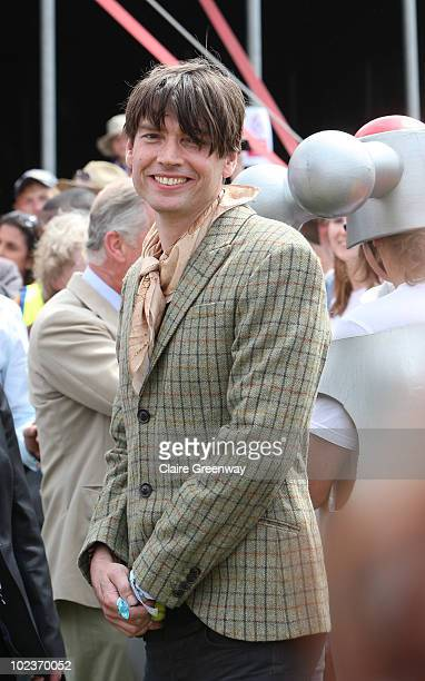 Musician Alex James attends a visit by HRH Prince Charles to the WaterAid charity area at Glastonbury Festival at Worthy Farm Pilton on June 24 2010...