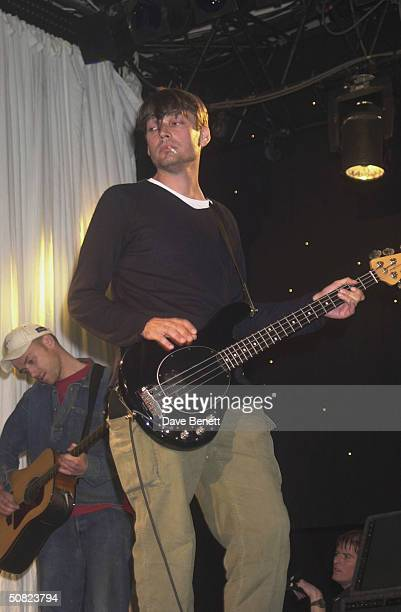 Musician Alex James on stage at The Music Managers Forum Roll of Honour Awards held at The Park Lane Hilton on 19th September 2001 in London