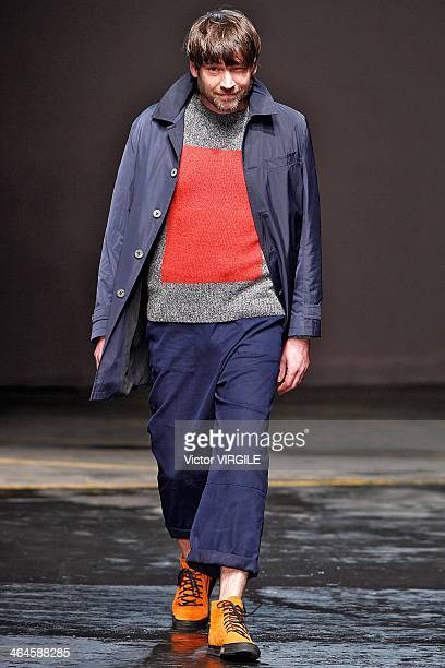 Musician Alex James walks the runway at the Oliver Spencer show during The London Collections Men Autumn/Winter 2014 on January 8 2014 in London...