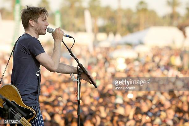 Musician Alex Kapranos of Franz Ferdinand performs during day 1 of the Coachella Valley Music Arts Festival 2009 at the Empire Polo Club on April 17...