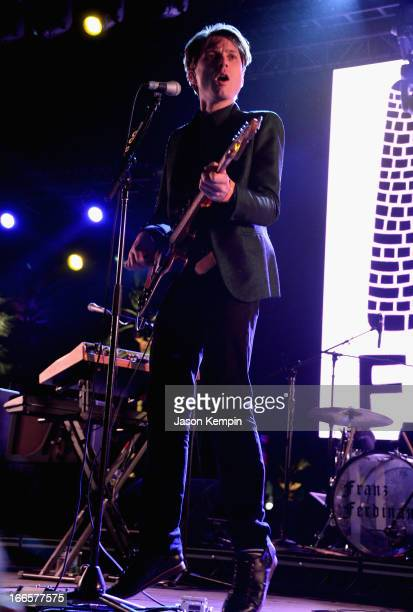 Musician Alex Kapranos of Franz Ferdinand performs onstage during day 2 of the 2013 Coachella Valley Music Arts Festival at the Empire Polo Club on...