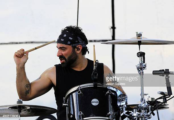 Musician Alex Sassaris of Eve To Adam performs during 2014 Rockfest at Penn Valley Park on May 31 2014 in Kansas City Missouri