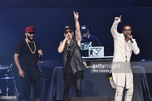 Musician Alex Sensation musician Yandel and singer Shaggy perform at at Prudential Center on April 22 2016 in Newark New Jersey