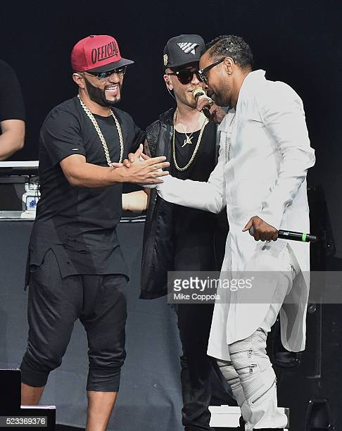 Musician Alex Sensation musician Yandel and singer Shaggy perform Mega Mezcla 2016 at Prudential Center on April 22 2016 in Newark New Jersey
