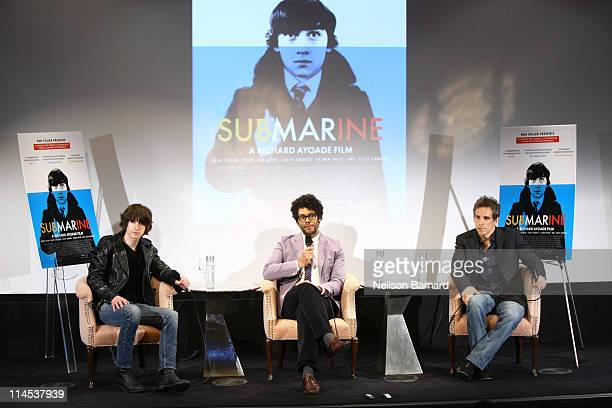 Musician Alex Turner actor and director Richard Ayoade and actor and executive producer Ben Stiller attend the Submarine press conference at the...