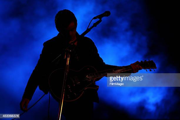 Musician Alex Turner of Arctic Monkeys performs at the Twin Peaks Stage during day 1 of the 2014 Outside Lands Music and Arts Festival at Golden Gate...