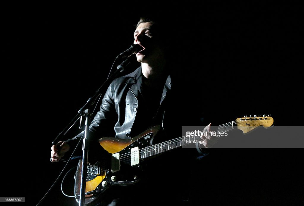Musician Alex Turner of Arctic Monkeys performs at the Twin Peaks Stage during day 1 of the 2014 Outside Lands Music and Arts Festival at Golden Gate Park on August 8, 2014 in San Francisco, California.