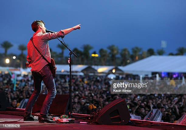 Musician Alex Turner of the Arctic Monkeys performs onstage during day 1 of the 2012 Coachella Valley Music Arts Festival at the Empire Polo Field on...