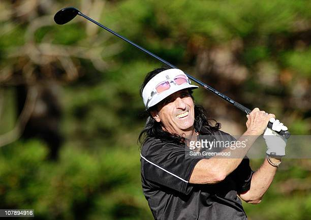 Musician Alice Cooper hits a shot during the proam round of the Hyundai Tournament of Champions at the Plantation course on January 5 2011 in Kapalua...
