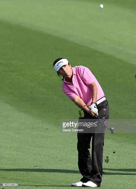 Musician Alice Cooper hits his ball on the second hole during the pro-am preview for the Kraft Nabisco Championship at the Mission Hills Country...
