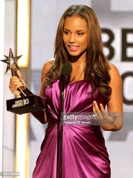 Musician Alicia Keys accepts the award for Best Female RB Artist during the 2010 BET Awards held at the Shrine Auditorium on June 27 2010 in Los...