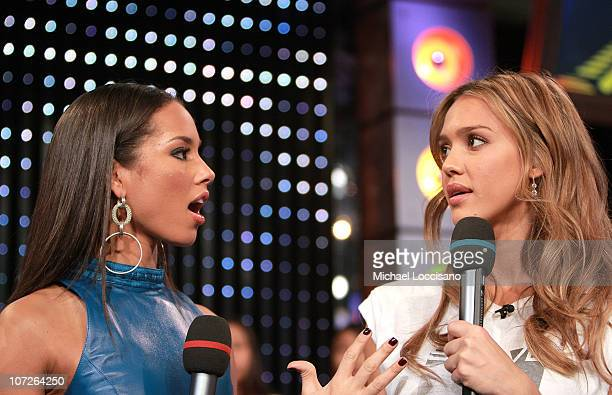 Musician Alicia Keys and actress Jessica Alba during MTV's Total Request Live at the MTV Times Square Studios on November 13 2007 in New York City