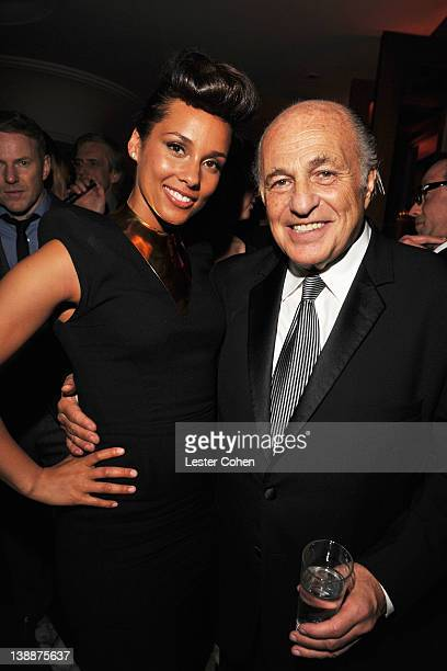Musician Alicia Keys and CEO of Sony Music Entertainment Doug Morris attend the Sony Music Group GRAMMY Reception 2012 held at Cecconi's West...