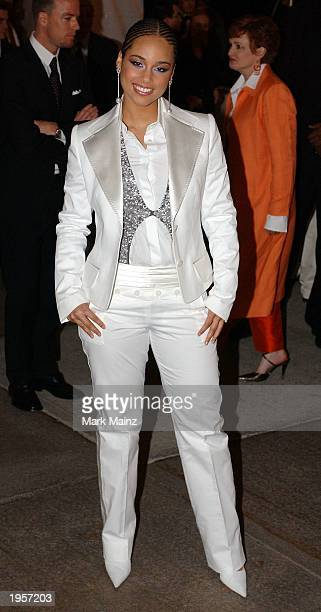 Musician Alicia Keys arrives for Goddess Costume Institute Benefit Gala at the Metropolitan Museum of Art April 28 2003 in New York City