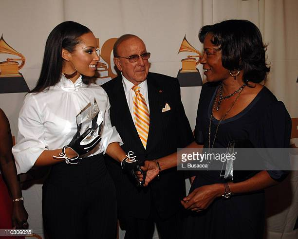 Musician Alicia Keys Chairman CEO of BMG Label Group Clive Davis and ASCAP's Jeanie Weems pose during the Recording Academy New York Chapter's...