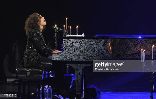 Musician Alicia Keys performs at The Beacon Theatre on June 30 2011 in New York City