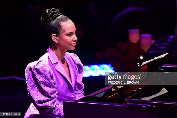"Musician Alicia Keys performs during the ""Celebration of Life for Kobe and Gianna Bryant"" service at Staples Center in Downtown Los Angeles on..."