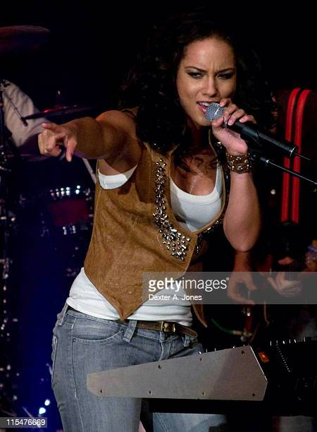 Musician Alicia Keys performs live at BET Studios October 9 2007 in New York City