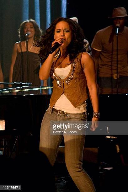 Musician Alicia Keys performs live at BET Studios October 9 2007 in New York City