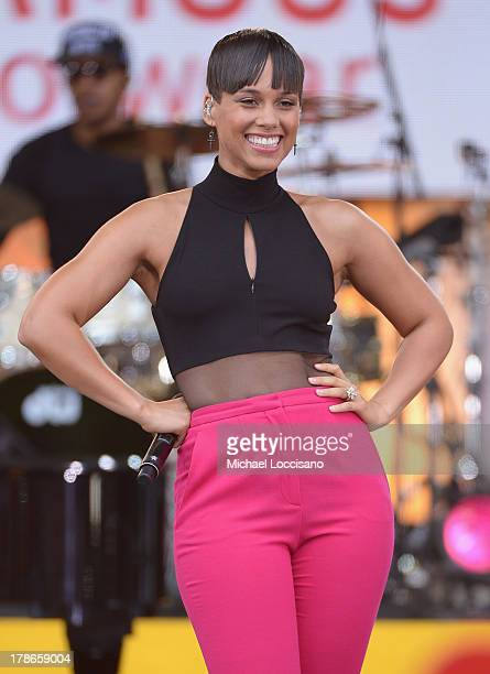 Musician Alicia Keys performs on ABC's Good Morning America at Rumsey Playfield on August 30 2013 in New York City