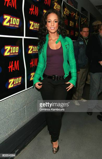 NEW YORK DECEMBER 14 Musician Alicia Keys poses backstage during Z100's Jingle Ball 2007 at Madison Square Garden on December 14 2007 in New York City