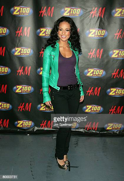 Musician Alicia Keys poses in the press room for Z100's Jingle Ball 2007 at Madison Square Garden on December 14 2007 in New York City