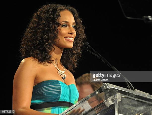 Musician Alicia Keys speaks onstage during the 22nd annual ASCAP Rhythm and Soul Awards held at The Beverly Hilton Hotel on June 26 2009 in Beverly...