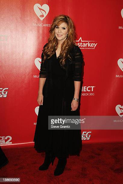 Musician Alison Krauss arrives at The 2012 MusiCares Person of The Year Gala Honoring Paul McCartney at Los Angeles Convention Center on February 10...