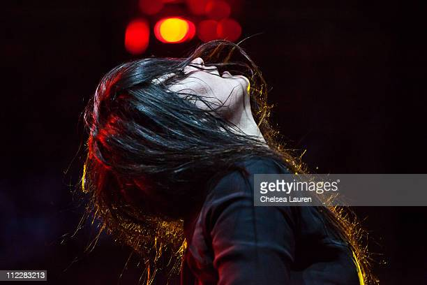 Musician Alison Mosshart of The Kills performs at day 2 of the 2011 Coachella Valley Music Arts Festival at The Empire Polo Club on April 16 2011 in...