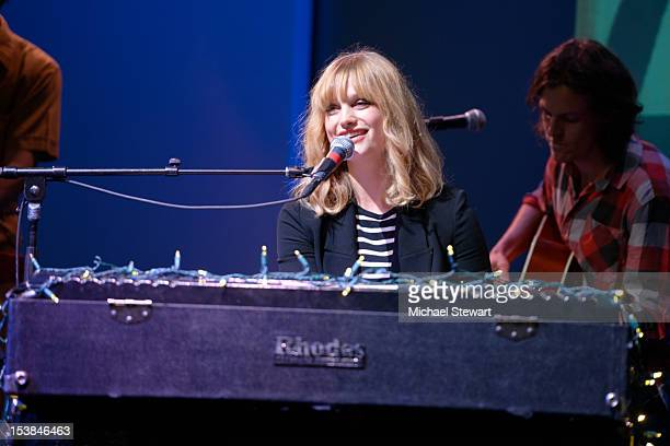 Musician Alison Sudol performs during Meet the Musician Alison Sudol A Fine Frenzy at the Apple Store Soho on October 9 2012 in New York City