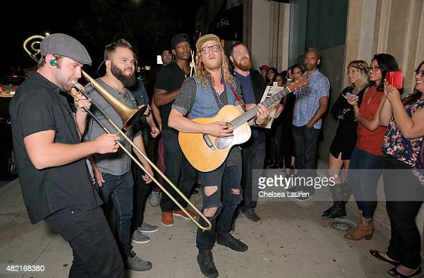 Musician Allen Stone performs for fans outside during SONOS Studio PANDORA An Evening with Allen Stone on July 27 2015 in Los Angeles California