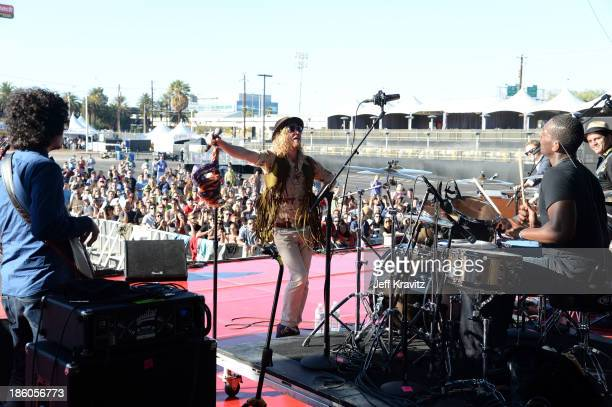 Musician Allen Stone performs onstage during day 2 of the Life is Beautiful festival on October 27 2013 in Las Vegas Nevada