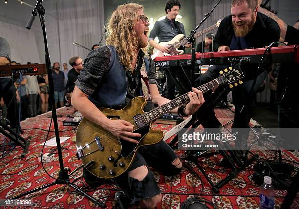 Musician Allen Stone performs onstage during SONOS Studio PANDORA An Evening with Allen Stone on July 27 2015 in Los Angeles California
