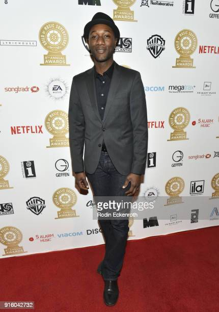Musician Aloe Blacc arrives at the 8th Annual Guild of Music Supervisors Awards at The Theatre at Ace Hotel on February 8 2018 in Los Angeles...