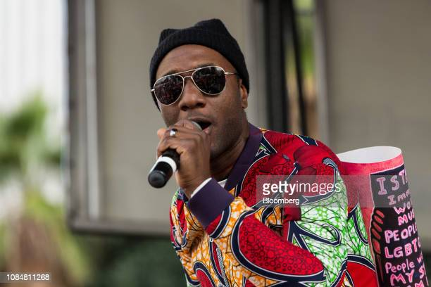 Musician Aloe Blacc performs during a teachers strike in Los Angeles California US on Friday Jan 18 2019 Teachers in Los Angeles the secondlargest...