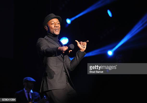 Musician Aloe Blacc performs during GRAMMY Park Featuring Robin Thicke Aloe Blacc 2016 Grammy Park In Brooklyn at Kings Theatre on May 7 2016 in the...