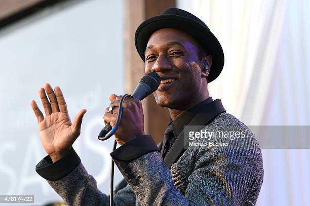 Musician Aloe Blacc performs onstage during the 14th annual Chrysalis Butterfly Ball sponsored by Audi Kayne Anderson Lauren B Beauty and Z Gallerie...