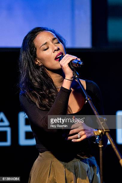 Musician Amanda Sudano of Johnnyswim performs during AOL Build at AOL HQ on October 10 2016 in New York City