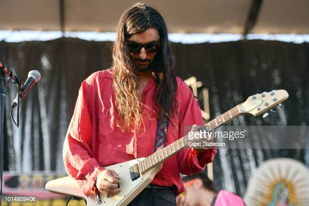 Musician Amir Yaghmai performs onstage during Beach Goth Festival at Los Angeles State Historic Park on August 5 2018 in Los Angeles California