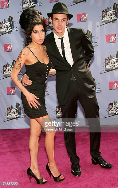 Musician Amy Winehouse and husband musician Blake FielderCivil arrive to the 2007 MTV Movie Awards held at the Gibson Amphitheatre on June 3 2007 in...