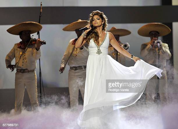 Musician Ana Barbara performs at Univision and the Latin Recording Academy honor Jose Jose at the Bank United Center on July 24 2008 in Miami Florida