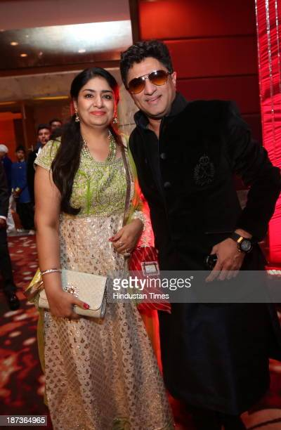Musician Anand Raj Anand with his wife during prewedding party of singer Daler Mehndi's daughter Ajit Kaur with Navraj Singh son of singer Hans Raj...