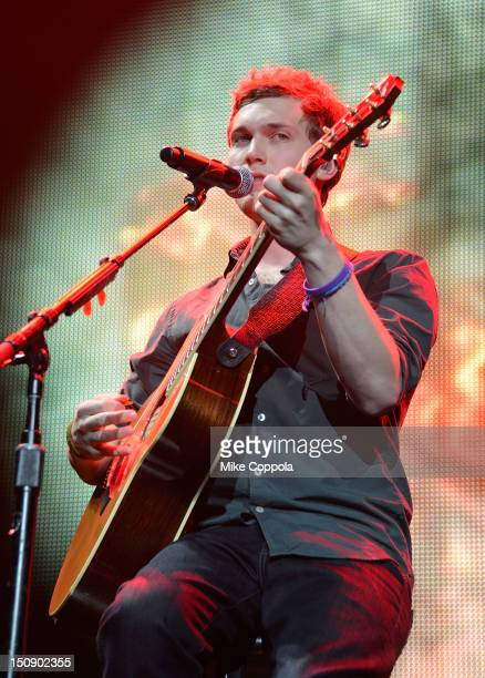 Musician and 2012 American Idol winner Phillip Phillips performs during the American Idol Live tour at the Prudential Center on August 28 2012 in...