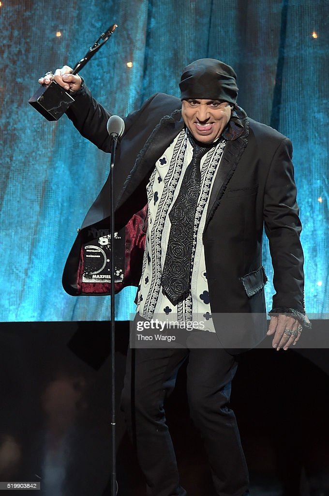 Musician and actor Stevie Van Zandt inducts Bert Berns onstage at the 31st Annual Rock And Roll Hall Of Fame Induction Ceremony at Barclays Center of Brooklyn on April 8, 2016 in New York City.