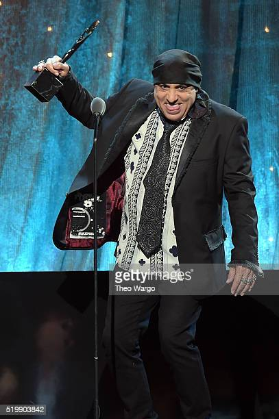 Musician and actor Stevie Van Zandt inducts Bert Berns onstage at the 31st Annual Rock And Roll Hall Of Fame Induction Ceremony at Barclays Center of...
