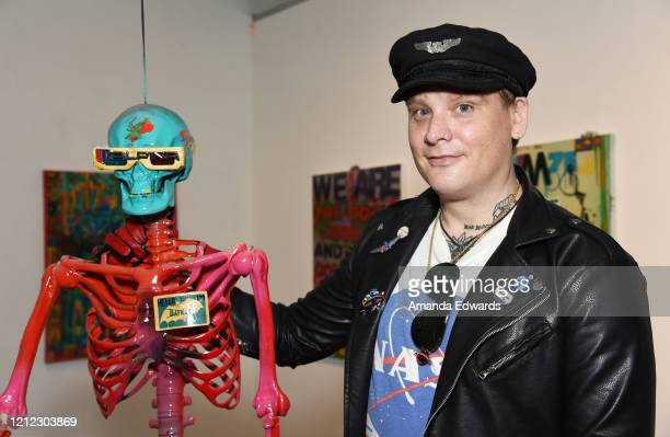 Musician and artist Matt Skiba attends the opening night of the Is That All There Is art show at the Lethal Amounts Gallery on March 13 2020 in Los...