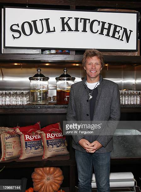 Musician and community activist Jon Bon Jovi at the grand opening celebration of The Soul Kitchen on October 19 2011 in Red Bank New Jersey