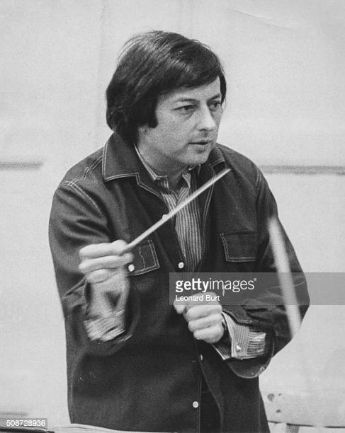 Musician and conductor Andre Previn rehearsing with the London Symphony Orchestra at the Bishopsgate Institute London January 2nd 1970